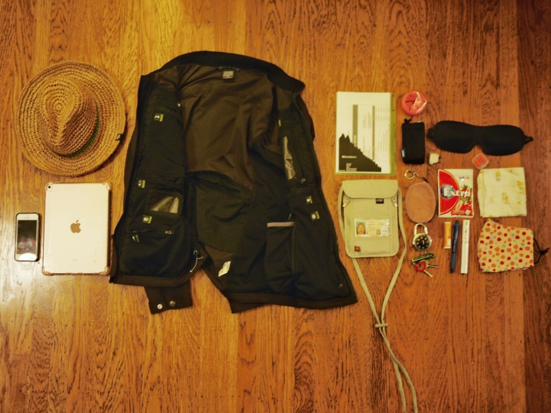 Travel jacket: before packing