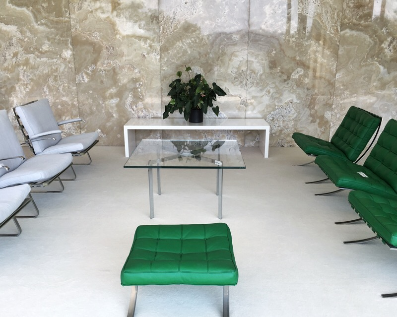 White and green chairs